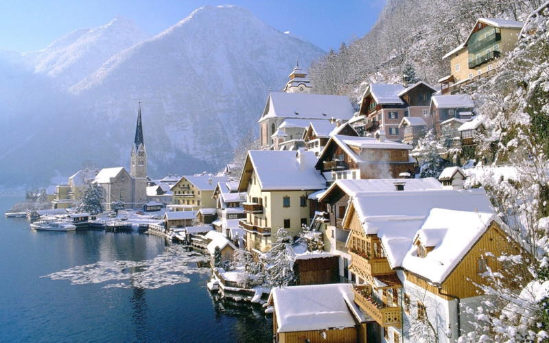 Hallstatt Water Snow Houses