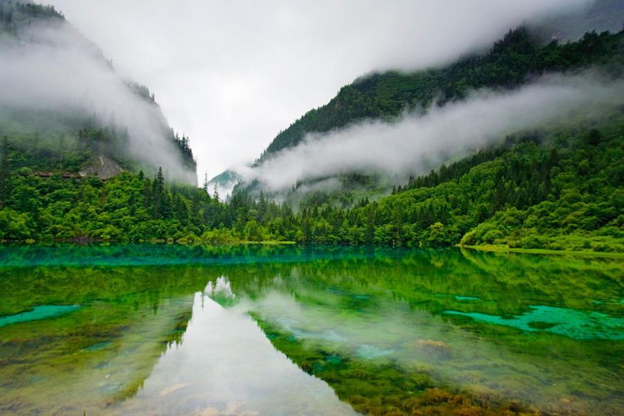 Lake Reflection Mist Mountains