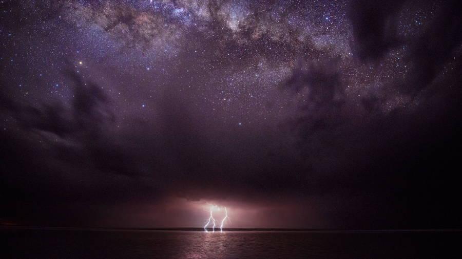 Lightning Ocean Stars Night