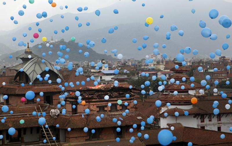 Nepal Earthquake Blue Balloons
