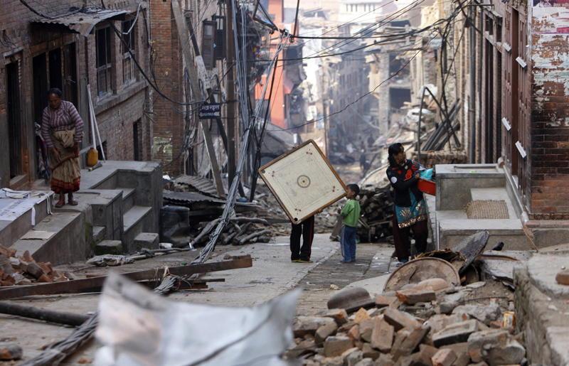 Nepal Earthquake Rubble Children