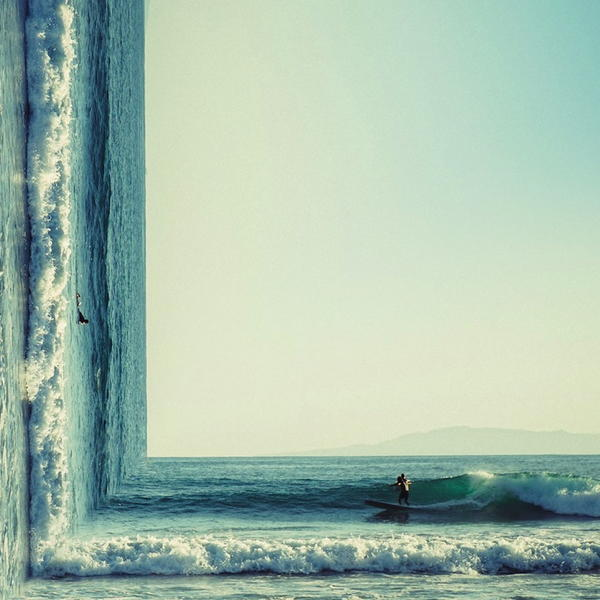 Ocean Waves Surfer Surreal