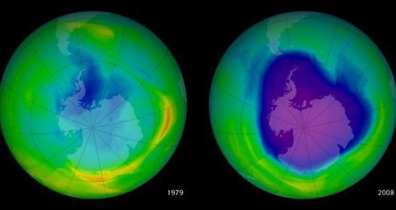 Ozone Depletion Globe Comparison