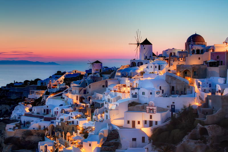 Santorini Red Sky Evening