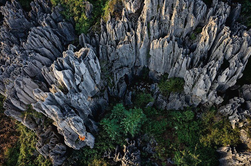 Chinese Stone Forest Aerial Photo