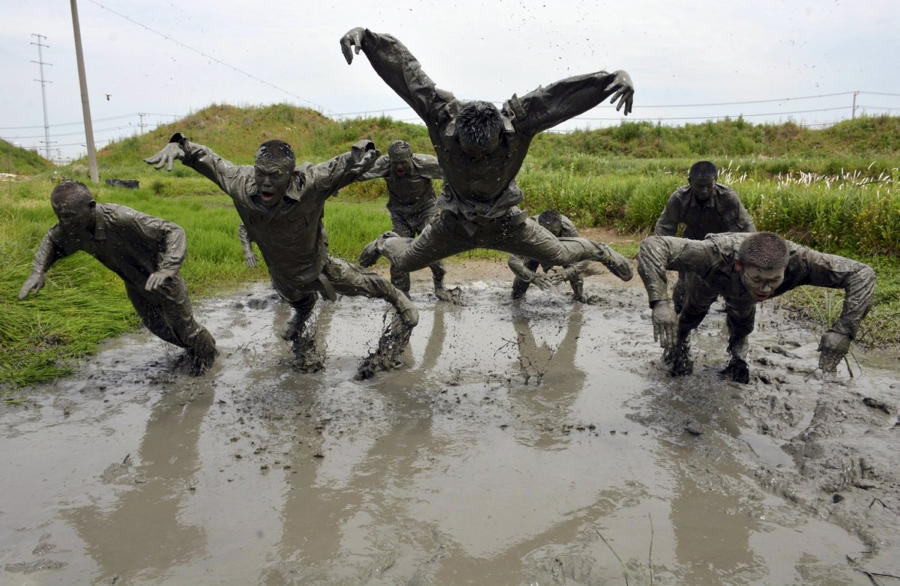 Trainees Diving Mud