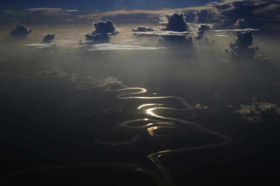 Winding River Sunlight Reflection
