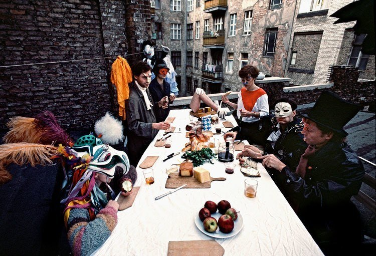 Masked People Eating