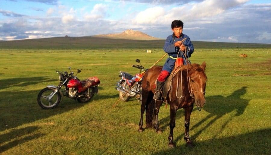 Mongolia Nomads Boy Horse