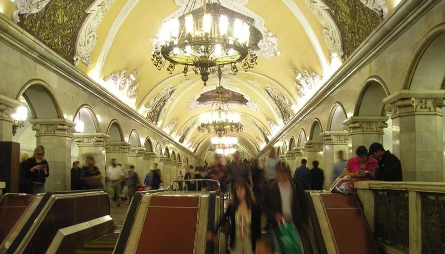 Moscow Metro Komsomolskaya Escalator