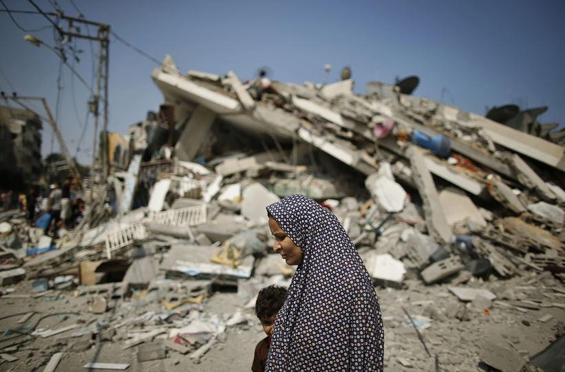 Occupied Palestine Woman Rubble
