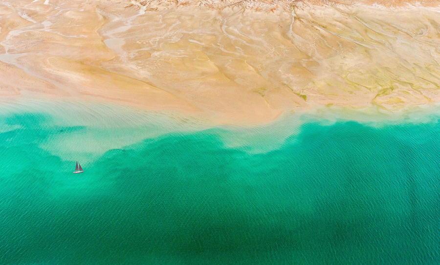 Sailboat Sand Water Ripples