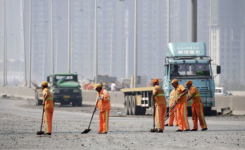 Tianjin Explosion Cleanup Brooms