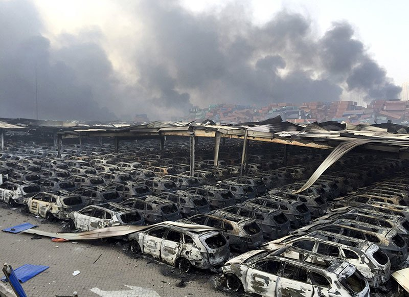 Tianjin Explosion Line Of Cars