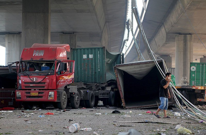 Tianjin Explosion Scattered Vehicles