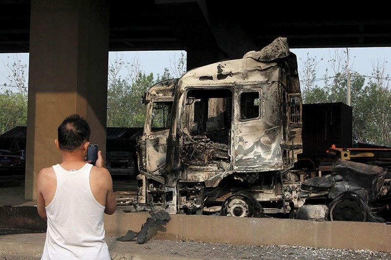 Tianjin Explosion Smoldering Metal