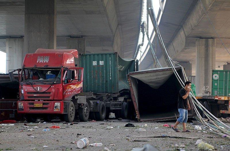 Tianjin Explosion Under Bridge