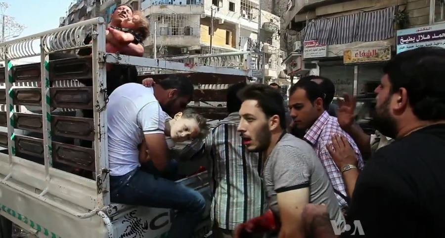 Wound Civilians Arrive At Aleppo Hospital