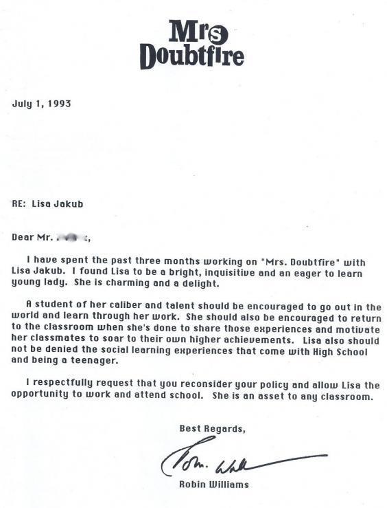 Robin Williams' Heartwarming Letter