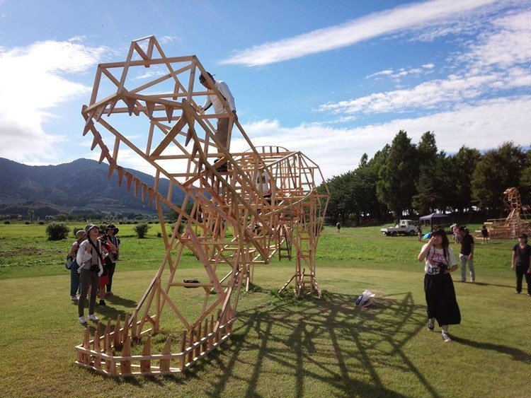 Japanese Straw Sculptures TRex Frame