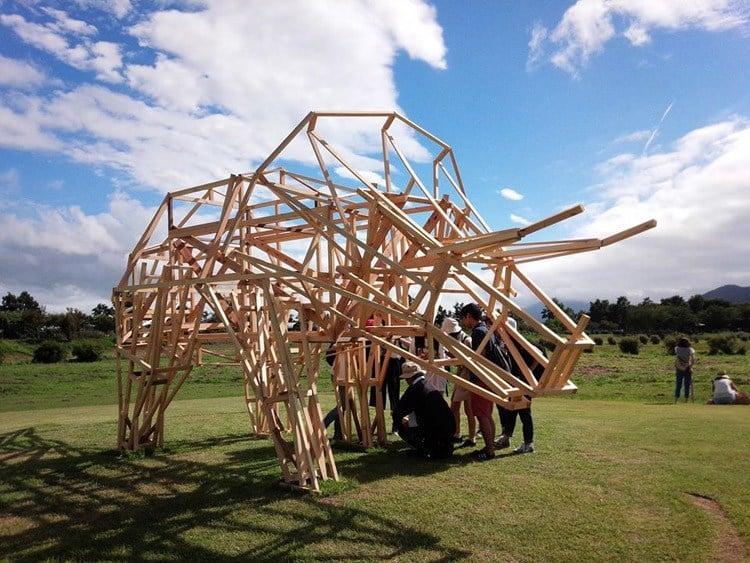 Japanese Straw Sculptures TriceratopsFrame
