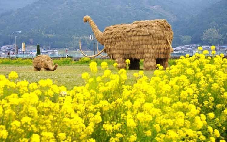 Японо-соломенного скульптуры мамонтов-