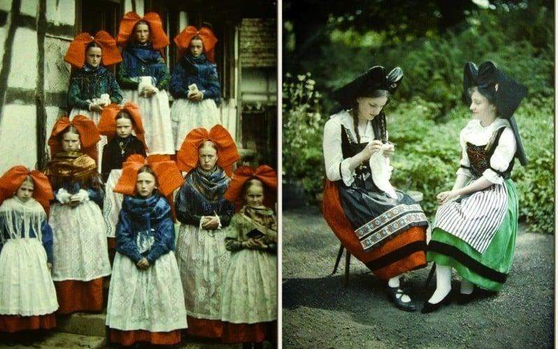 Autochrome photography Women Alsace France