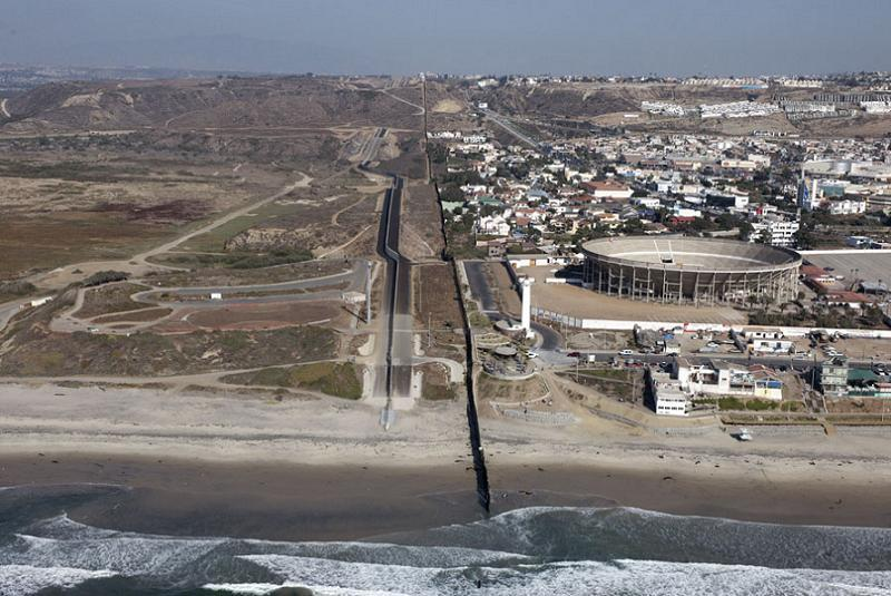 Aerial Borders Tijuana Beach