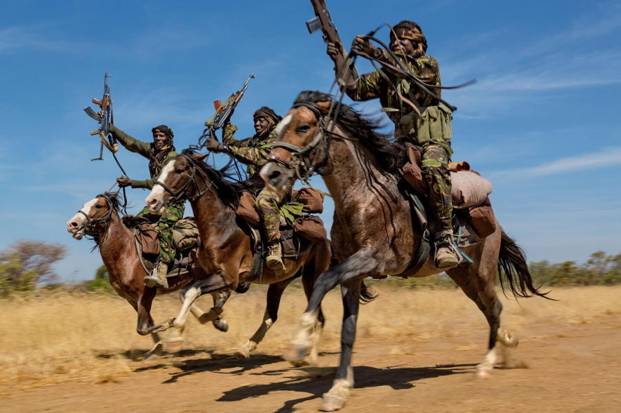African Soldiers Guns Horses