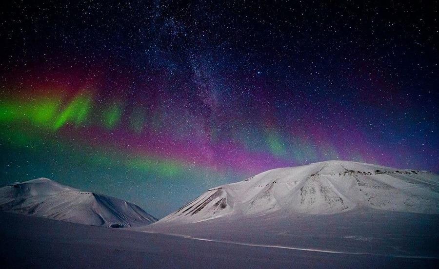 Aurora Mountains Snow