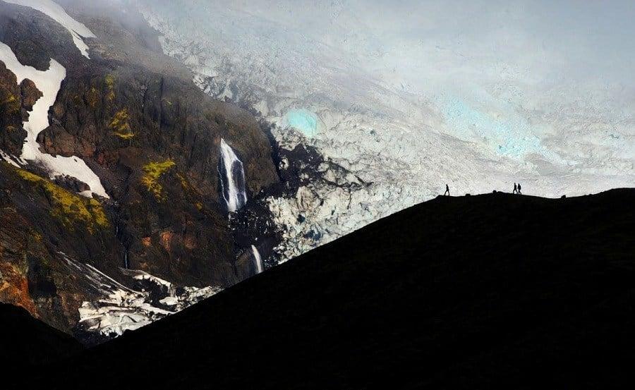 Hikers Mountains Glacier