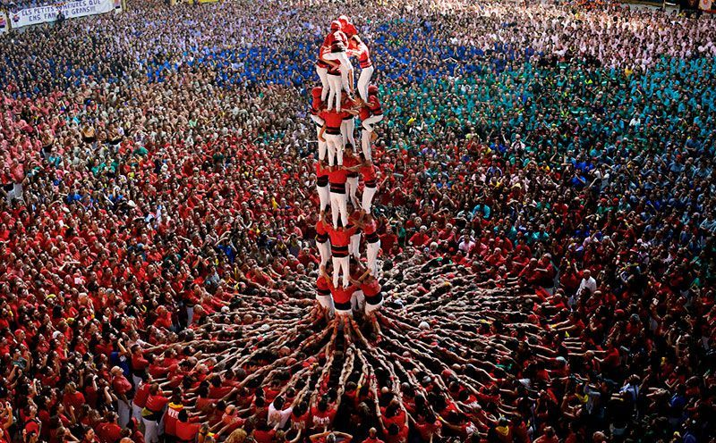 Human Tower In Spain