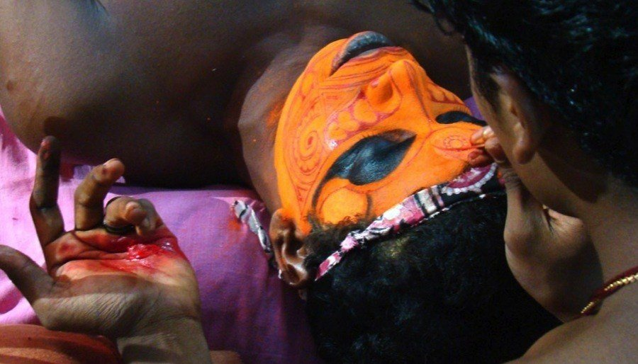 Theyyam India Preparing Makeup