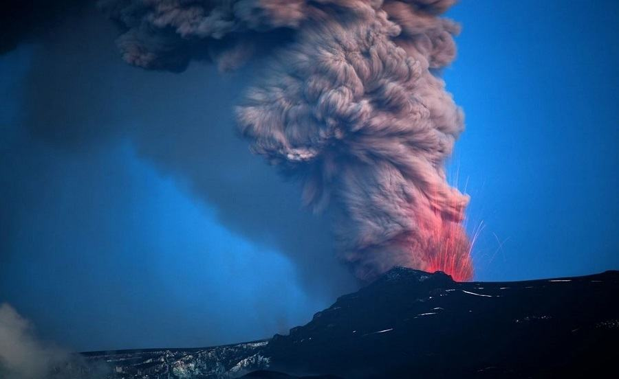 Volcano Ash Cloud Sparks