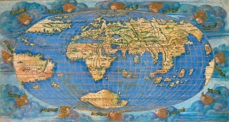Ancient Maps 1500s Oval World