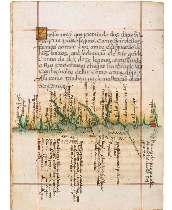 Ancient Maps Coastline Brazil