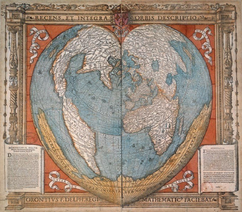 Ancient Maps Heart Earth