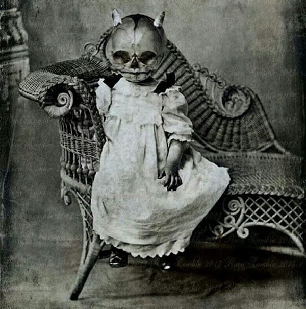 Creepy Vintage Halloween Costumes Wicker Chair