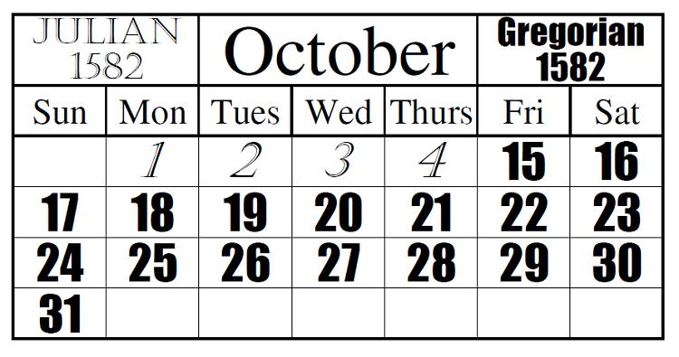 Julian Gregorian Calendars 1582