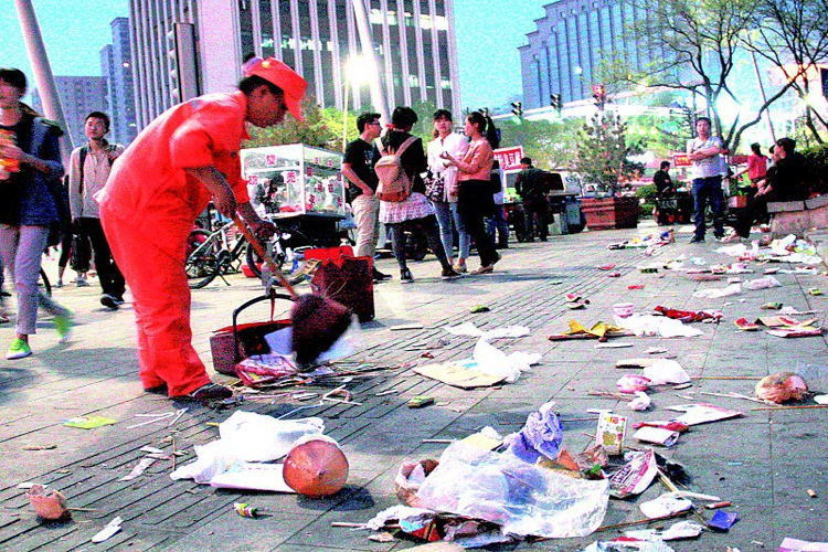 Littering In China Street