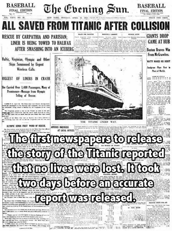 Newspaper Titanic Facts