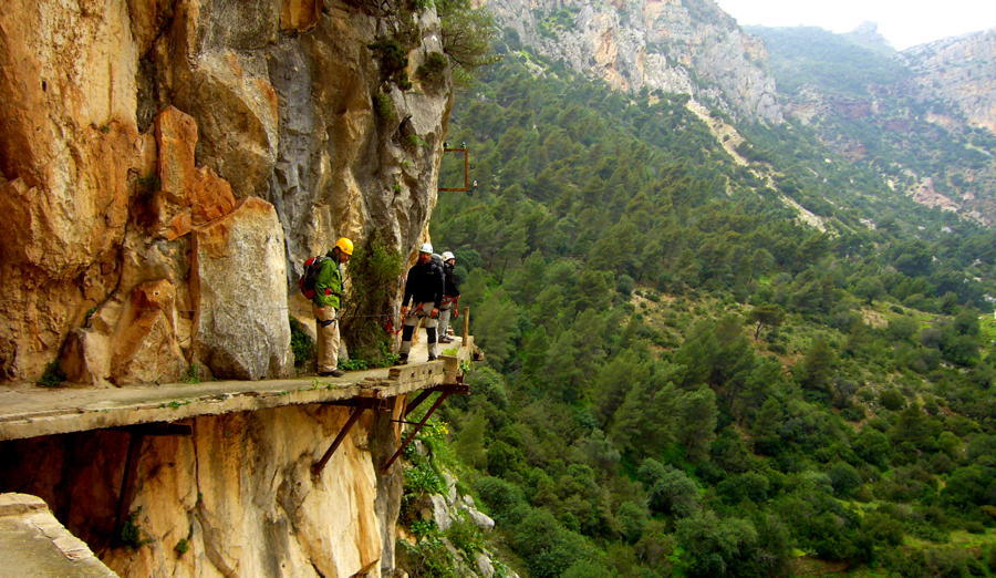 Spanish Cliff Walkway Hikers