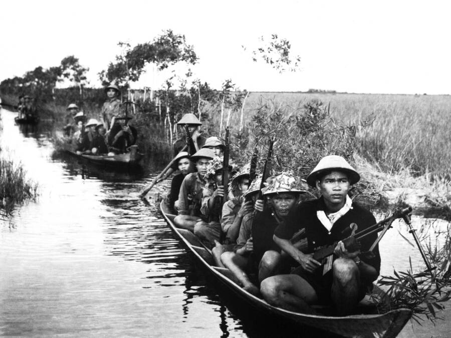 Viet Cong Canoing In The River