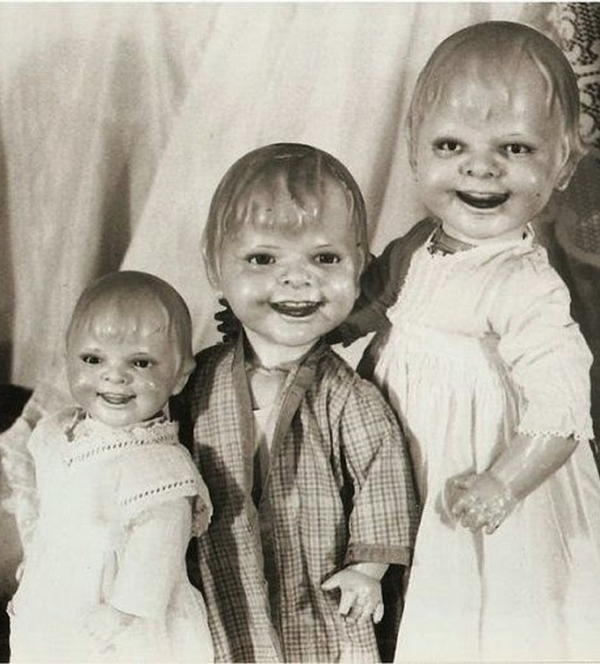 Vintage Creepy Dolls Trio