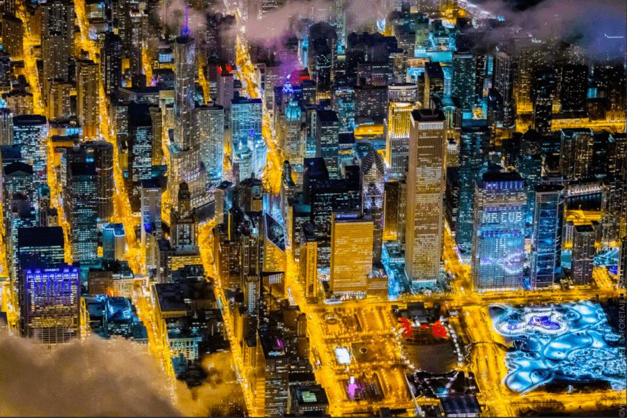Chicago Night Lights Smoke