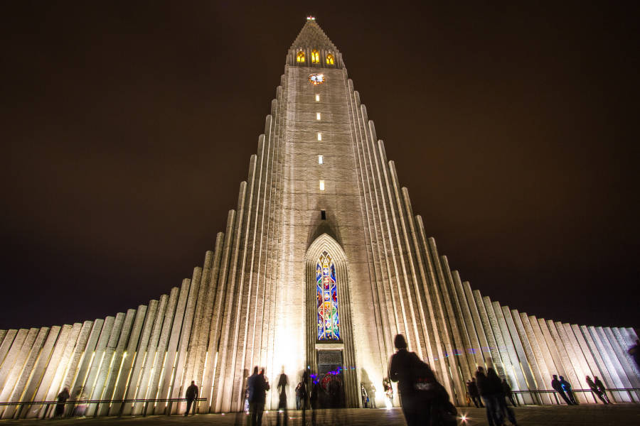 Hallgrimskirkja Iceland Night Shadows
