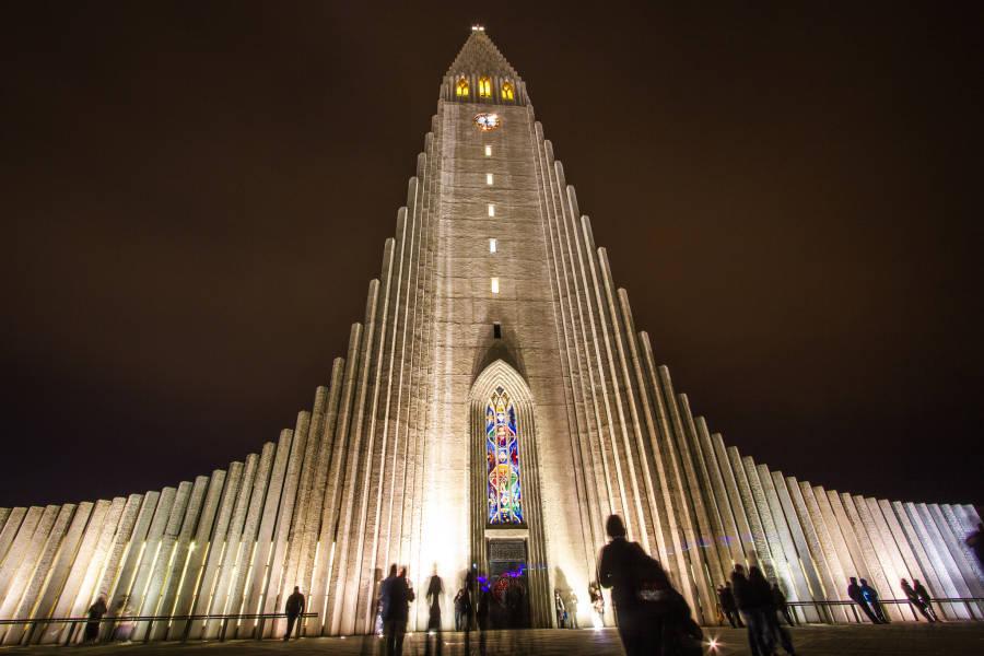 Hallgrimskirkja Iceland Night Shadows