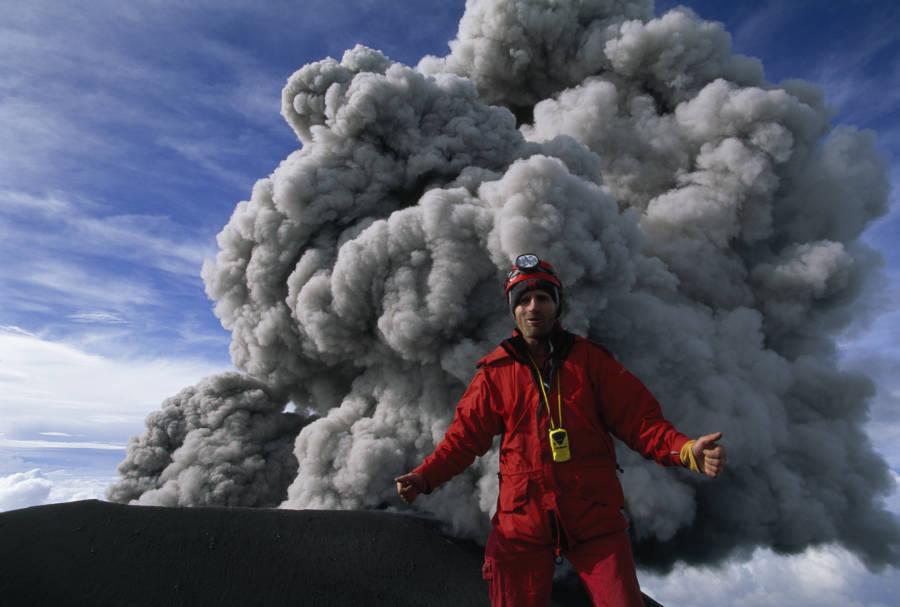 Man Volcano Eruption Smoke
