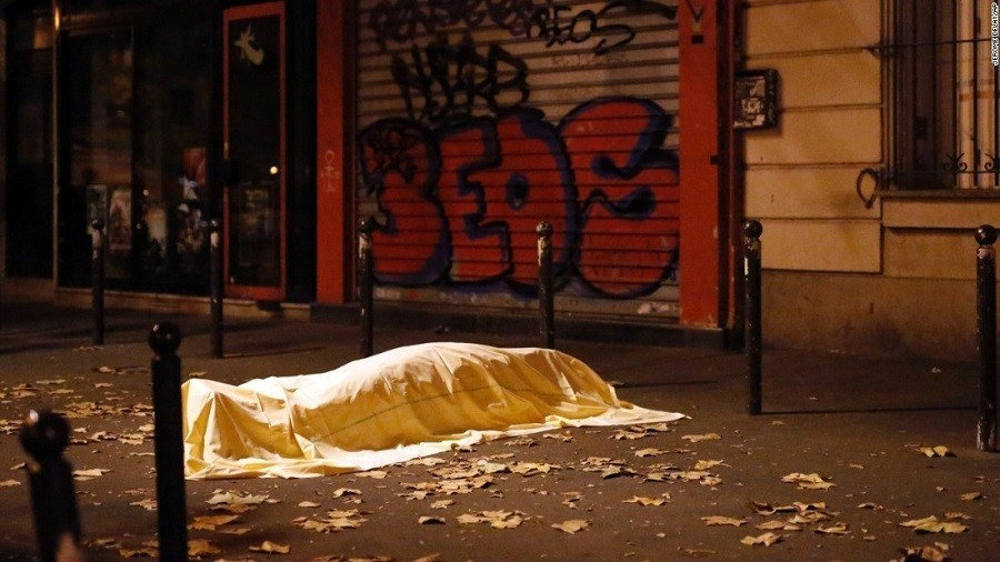 Paris Shootings Body Covered Sidewalk