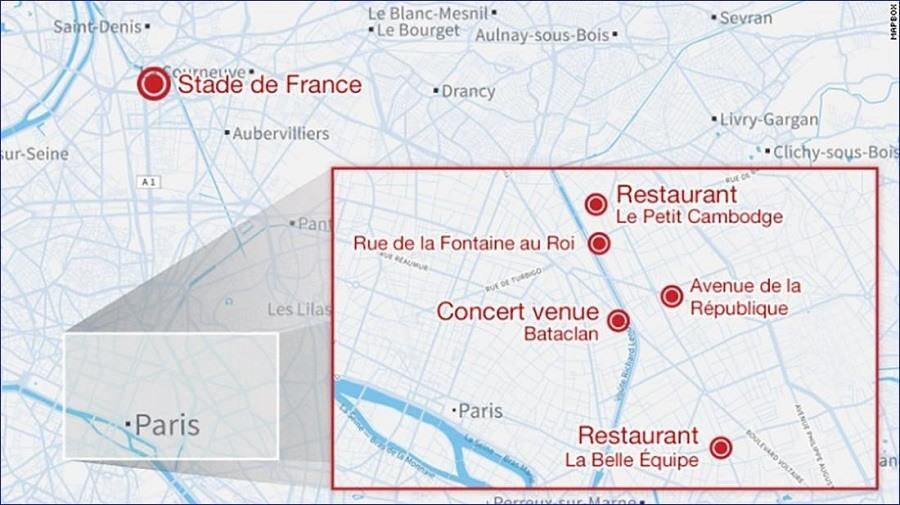 Paris Shootings Map